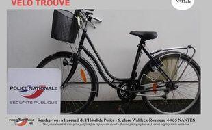 Un vélo volé retrouvé par le commissariat de Nantes.