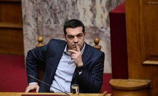 Le Premier ministre grec Alexis Tsipras au Parlement à Athènes le 18 février 2015