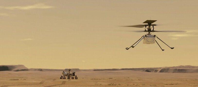 Voilà à quoi doit ressembler en vol le petit hélicoptère Ingenuity. (illustration)