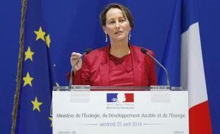 La ministre de l'Ecologie, Ségolène Royal, lors d'une conférence à Paris, le 25 avril 2014