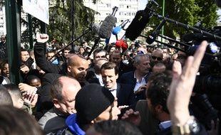 Le leader du mouvement En Marche !, Emmanuel Macron, était en visite à Sarcelles, le 27 avril 2017.