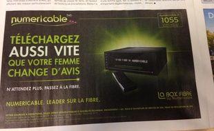 Une publicité pour Numéricable parue dans le quotidien «20 Minutes», le 6 janvier 2014.