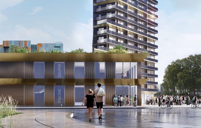 Vue de l'entrée de la future piscine nordique et de la tour de logements (projet Saupin)