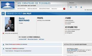 Capture écran du réseau social de l'UMP, les créateurs de possibles.