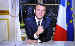 Emmanuel Macron lors de ses voeux télévisés aux Français, le 31 décembre 2017.