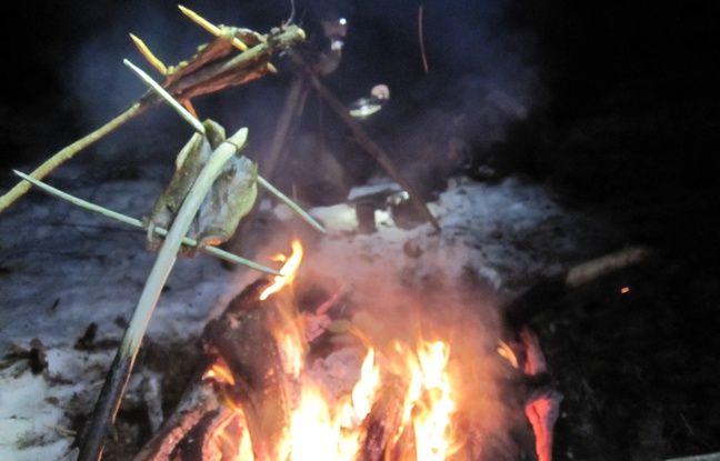Une truite cuisinée à l'amérindienne par Simon Nature Bidouille lors d'une sortie bushcraft.
