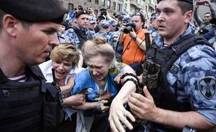 La police russe a réprimé la manifestation en soutien au journaliste Ivan Golounov, le 12 juin 2019 à Moscou.