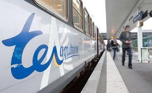 Illustration: un train TER en gare de Bordeaux Saint-Jean.