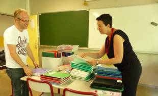Villeurbanne, le 31 août 2016. Les enseignants du collège des Iris, à Villeurbanne près de Lyon, ont effectrué leur pré rentrée ce mercredi. Une rentrée marquée par la mise en oeuvre de la réforme du collège.