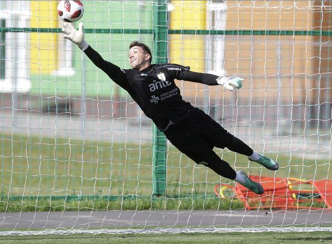 Fernando Muslera à l'entraînement, jeudi à Nijni Novgorod.