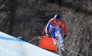 Alexis Pinturault pendant la descente du combiné alpin, le 13 février 2018.