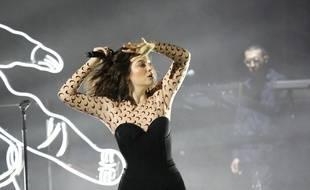 La chanteuse Lorde sur la scène de l'O2 Apollo à Manchester en 2017