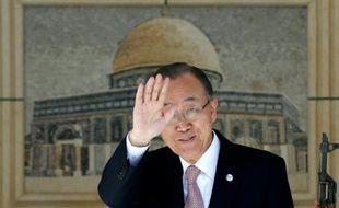 Le secrétaire général de l'ONU, Ban Ki-moon, le 21 octobre 2015, à Ramallah
