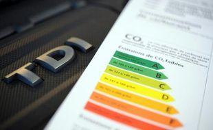 Etiquette de consommation de carburant d'une voiture diesel le 1er mars 2013 à Quimper