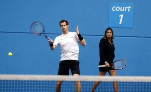Britain's Andy Murray, left,  is watched by his coach Amelie Mauresmo during a training session ahead of his third round match at the Australian Open tennis championships in Melbourne, Australia, Friday, Jan. 22, 2016.(AP Photo/Rafiq Maqbool)/XMEL169/729781480960/1601220425