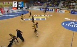 Capture d'écran d'une vidéo du match Hypo Niederosterreich - Metz, en Ligue des Champions, el 28 octobre 2009.