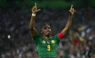 Samuel Eto'o avec le Cameroun lors du match de préparation contre l'Allemagne, le 1er juin 2014.