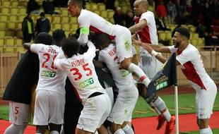 La joie des Monégasques après leur qualification pour les demi-finales de la Coupe de la Ligue face à Rennes.