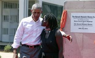 Former US President Barack Obama and his half sister Auma Obama, at Kogelo, Kenya, Monday, July 16, 2018. Former U.S. President Barack Obama Monday praised Kenya's president and opposition leader for working together but said this East African country must do more to end corruption. Obama, on his first visit to Africa since stepping down as president, commended President Uhuru Kenyatta and opposition leader Raila Odinga for cooperating following last year's disputed presidential election which were marked by violence.