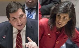 Photomontage des ambassadeurs russe et américain à l'ONU, Vladimir Safronkov, et Nikki Haley, le 7 avril 2017, lors d'une réunion du Conseil de sécurité après les frappes américaines en Syrie.