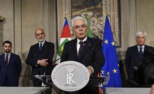 Le président italien Sergio Mattarella, le 27 mai 2018.