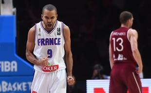 Tony Parker, lors du match contre la Lettonie à l'EuroBasket 2015.