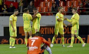 A Lorient, samedi, tout à gauche, Dubois, Harit et Djiji, formés au FCN.