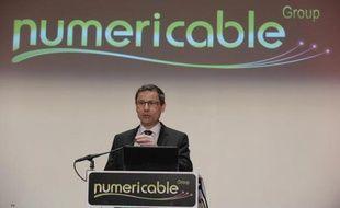 Le PDG de Numericable Eric Denoyer lors de la conférence de presse du groupe à Paris le 12 mars 2014