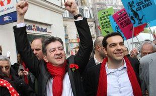 Jean-Luc Mélenchon et Alexis Tsipras à Paris, en avril 2014.