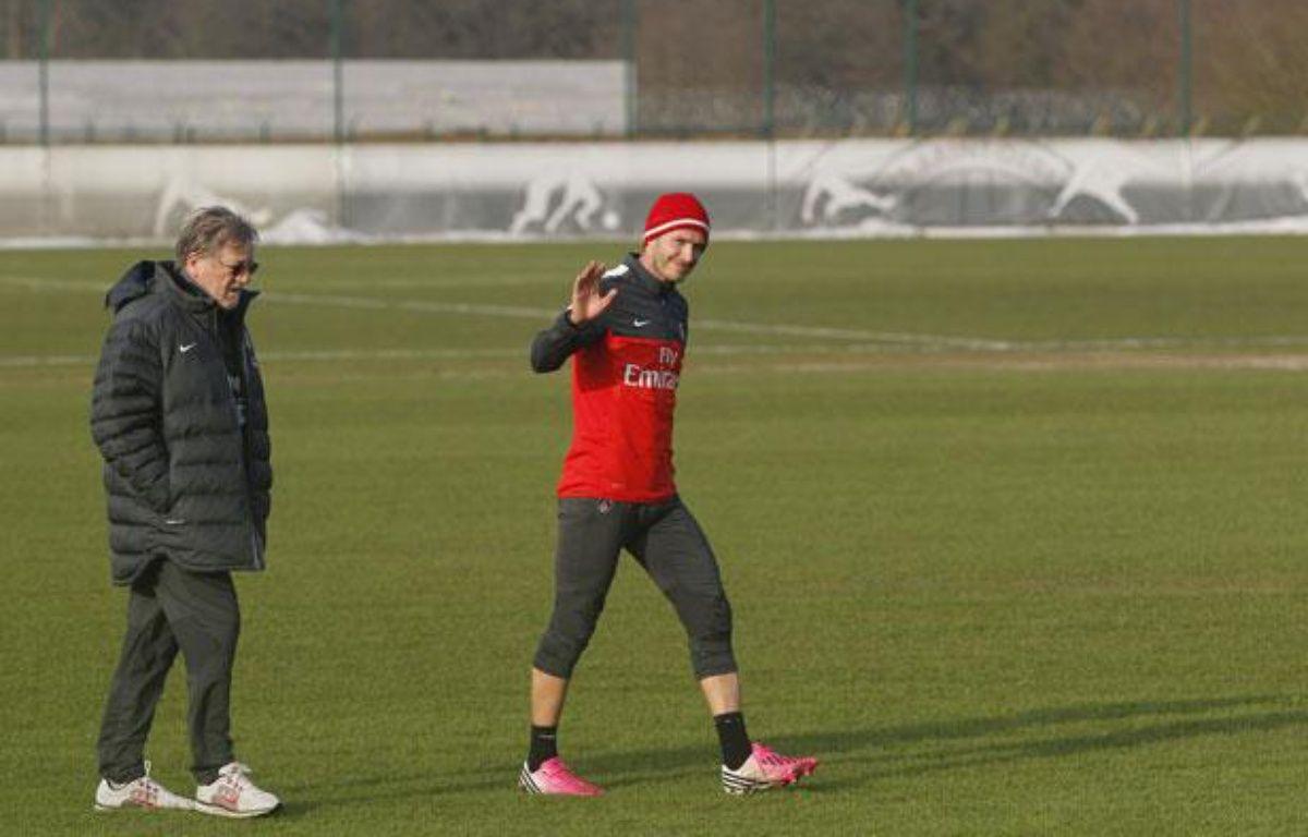 Le joueur du PSG, David Beckham, lors de ses débuts à l'entraînement avec le PSG, le 13 février 2013. – V.Wartner/20minutes