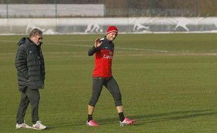 Le joueur du PSG, David Beckham, lors de ses débuts à l'entraînement avec le PSG, le 13 février 2013.