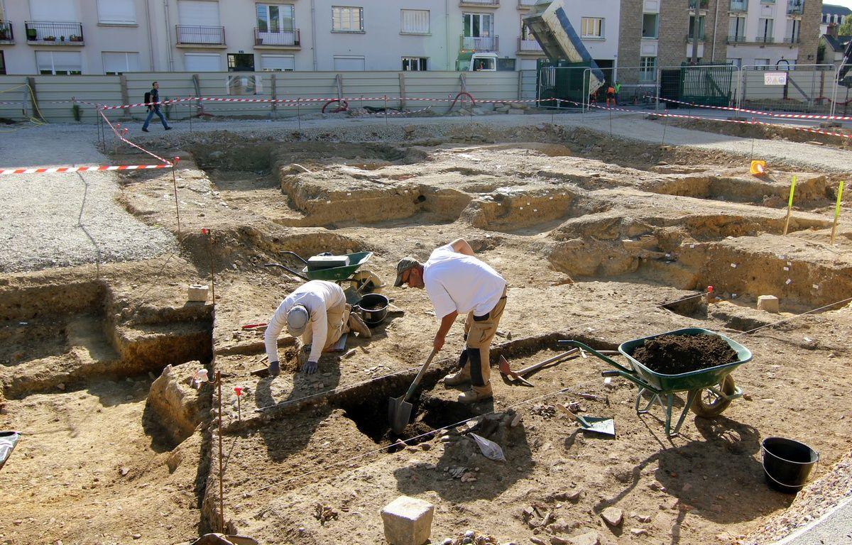 Le chantier de fouilles de l'Hôtel Dieu à Rennes, où les archéologues ont trouvé des traces de civilisation du Ier siècle. – C. Allain / APEI / 20 Minutes