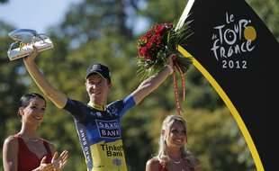 Chris Anker Sorensen recevant le 22 juillet 2012 le prix de la combativité à la fin du Tour de France.