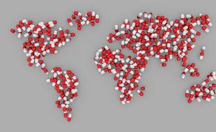 Illustration du monde sous forme de pilules.