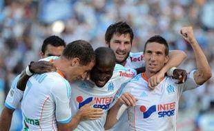 Les Marseillais Cheyrou, Fanni, Gignac et Amalfitano contre Sochaux, le 19 août 2012, à au stade Vélodrome.