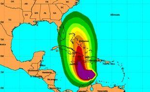 Les probabilité de vitesse de la tempête Matthiew le 1er octobre cartographiées par le centre américain de surveillance des ouragans (NHC).