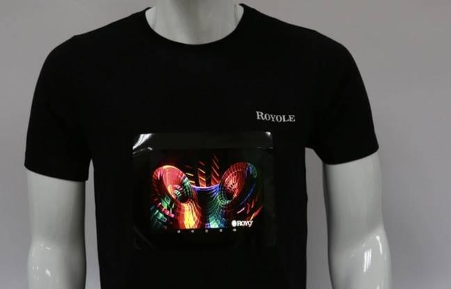 Le T-shirt à écran flexible de la marque Royole.