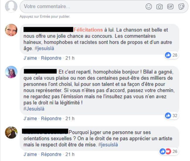 Capture d'écran de commentaires Facebook sur Bilal Hassani.