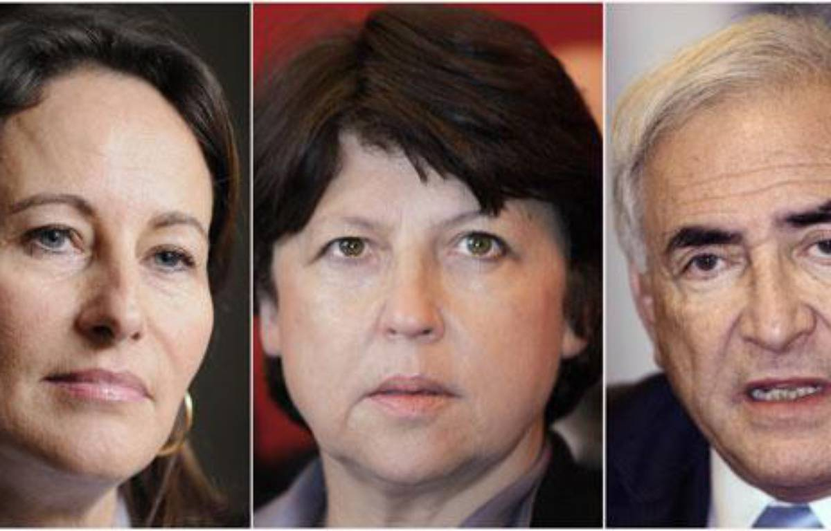 Ségolène Royal, Martine Aubry et Dominique Strauss-Kahn. – AFP PHOTO