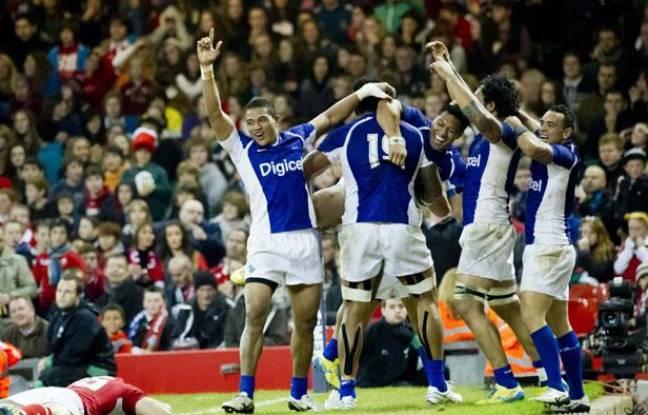 Les Samoa, victorieux du Pays de Galles à Cardiff, le 16 novembre 2012.