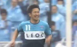 L'attaquant japonais Kazu Miura célèbre un but le 4 avril 2015.