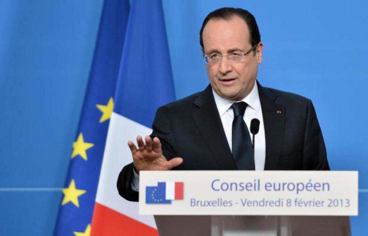 François Hollande lors de la conférence de presse organisée à l'issue du Conseil européen du vendredi 8février 2013. – BERTRAND LANGLOIS / AFP