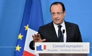 François Hollande lors de la conférence de presse organisée à l'issue du Conseil européen du vendredi 8février 2013.
