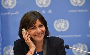 La maire de Paris Anne Hidalgo lors d'une conférence de presse sur l'urbanisation durable à New York le 29 mai 2014