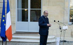 Eric Dupond-Moretti, lors de l'annonce de la nomination de Nathalie Roret a la tête de l'école de magistrature.