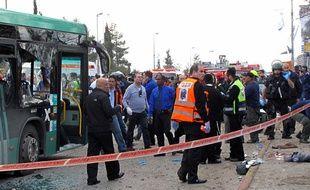 Un attentat a eu lieu à proximité d'un bus, en plein centre de la gare routière de Jérusalem, le 23 mars 2011.