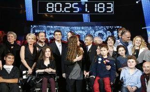 Le compteur affiche le montant de 80,251,183 millions d'euros collectés lors du 29e Téléthon, le 5 décembre 2014 à Paris