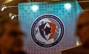 Le logo de l'ANSSI, l'Agence nationale de la sécurité des systèmes d'information, lors du dixième forum sur la cybersécurité, le 23 janvier 2018 à Lille.