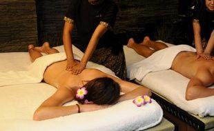 Un salon de massage. Illustration.