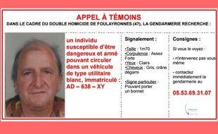 Appel à témoins lancé par la gendarmerie nationale le 3 décembre 2015.